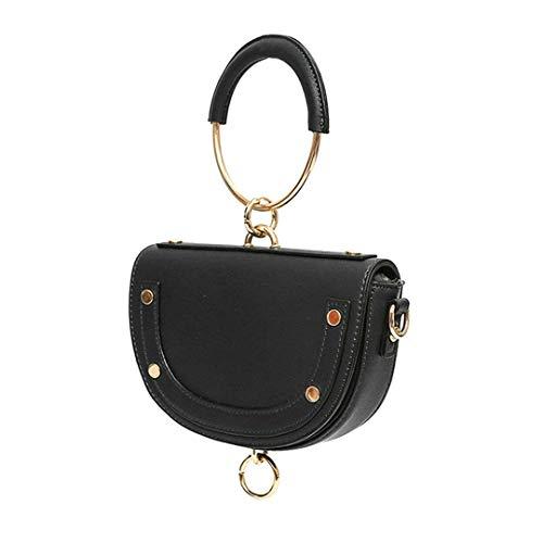 Frauen satteltasche Mode pu halbrund Griff Tasche Leder Schulter Pack Leder Ring Handtasche Black Handle Bag - Ring Griff-patent-tasche