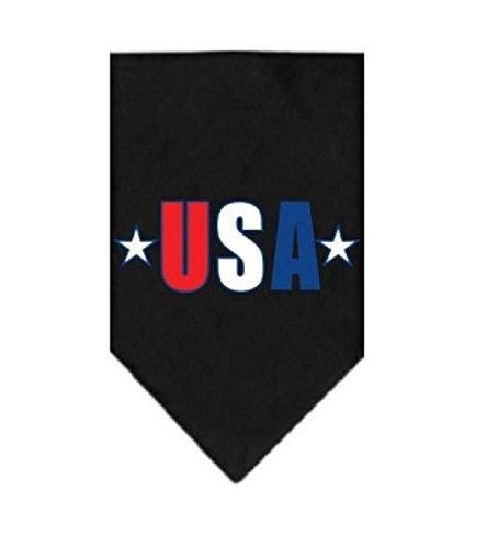 Mirage Rot, Weiß und Blau USA Star Bildschirm Print auf Schwarz Bandana, Large (Schwarz Auf Schwarz Bandana)