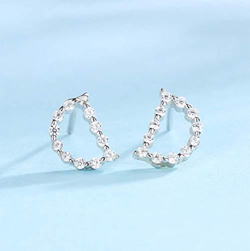 OOFAY Europäische und amerikanische Buchstaben aus 925er Silber mit Diamant-Ohrsteckern Hip-Hop-Ohrringe,Weiß