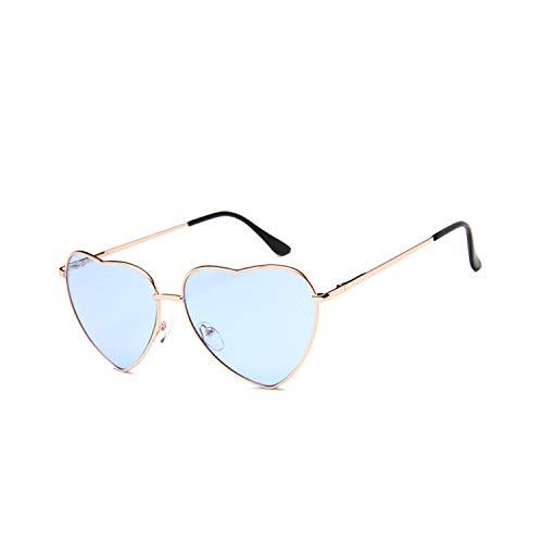 Sportbrillen, Angeln Golfbrille,NEW Vintage Heart Sunglasses Women Brand Designer Candy Color Gradient Sun Glasses Outdoor Goggles Party Oculos De Sol Gold Blue
