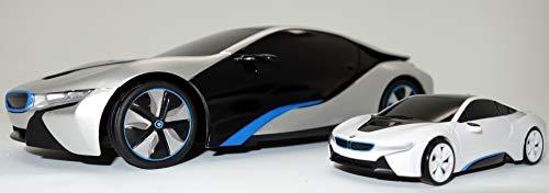 EDU Toys Original BMW i8 3in1 Experimentierset Plus 1:24 RC i8 Concept der komplette Funkasten mit 1:43 i8 Concept Car Powerzelle Ladestation und Experimentierzubehör. Hier mit extra Schutzbrille