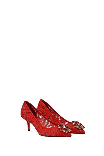 CD0066AL19880317 Dolce&Gabbana Talon Femme Dentelle Rouge Rouge