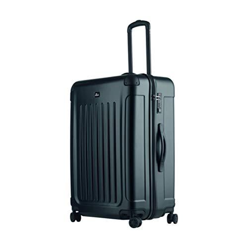 JSA Reisetrolley L, Rollkoffer aus ABS Kunststoff, Reisekoffer mit 4 doppelten 360° Leichtlaufrollen Koffer, 70 cm, 90 L, Schwarz Matt - 90 Behandlungen