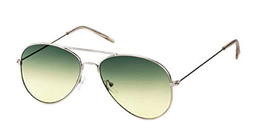 Sonnenbrille Pilotenbrille 400 UV Metallgestell golden silbern zweifarbig getönt türkis