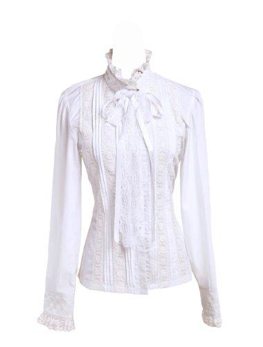 Antaina Weiß Baumwolle Rüsche Spitze Stehkragen Lolita Luxuriös Hemd Bluse, L