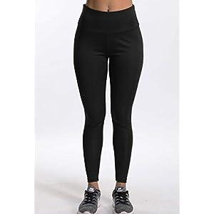 Mallas Pantalones Deportivos Leggings Mujer Yoga de Alta Cintura Elásticos y Transpirables para Yoga Running Fitness con Gran Elásticos Negro L