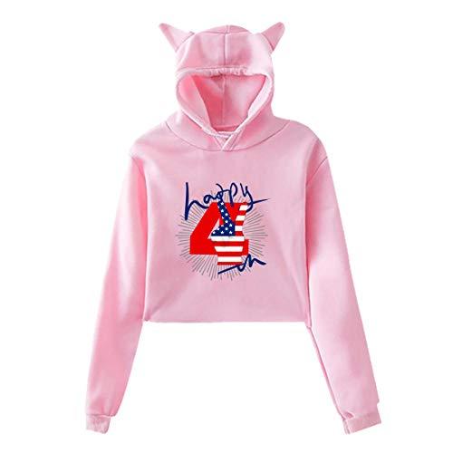 Happy Unique 4. Juli Feuerwerk Friedenszeichen USA Katze Ohr Hoodie Pullover Mädchen Crop Top Mode Warm Cool(XXL,Pink) -