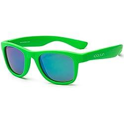 Koolsun pour bébé et enfants Lunettes de soleil Wave Fashion 1 + – Vert Fluo Effet miroir – Protection UV 100% – Optical Clas 1, Cat. 3