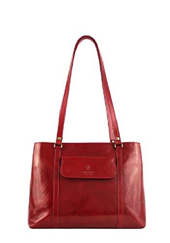 Borse a Spalla Donna Ruby in Vera Pelle, Made in Italy Rosso
