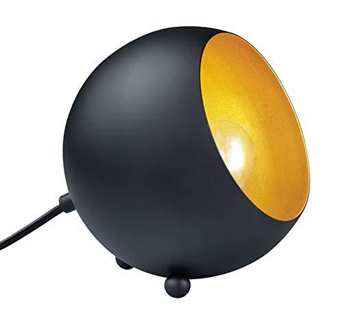 Reality Leuchten Tischleuchte, Metall, E14, schwarz matt/goldfarbig, 14 x 15 x 15 cm
