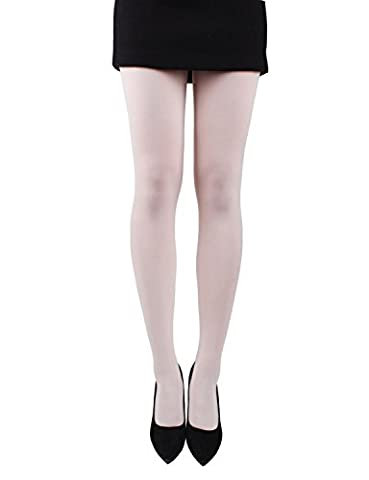 10STAR11 Women's 80 Den Unique Silky Reinforced Toe Opaque Footed Tights IVORY,O