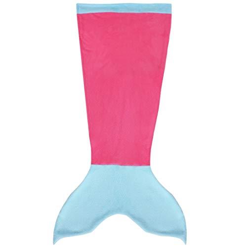 iEFiEL Mädchen Damen Kostüm Meerjungfrau Fischschwanz Decke Schwanz Flosse Handgemachte Schlafsack Blanket Kostüm Häkel Erwachsene Decke (Erwachsene Größe, Z Hell Rosa & Blau)