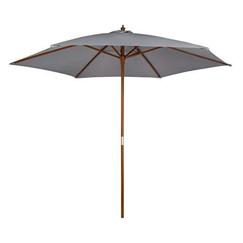 Aktive Garden Parasol Hexagonal con mástil de Madera de 36 mm, Gris, Diámetro 300 cm