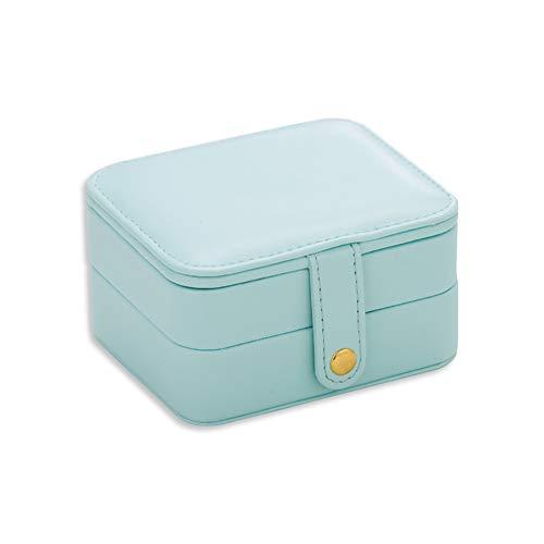 ckschatulle, mehrschichtige tragbare Reise schmuckschatulle, Leder Ohrringe kosmetische aufbewahrungsbox,LightBlue ()