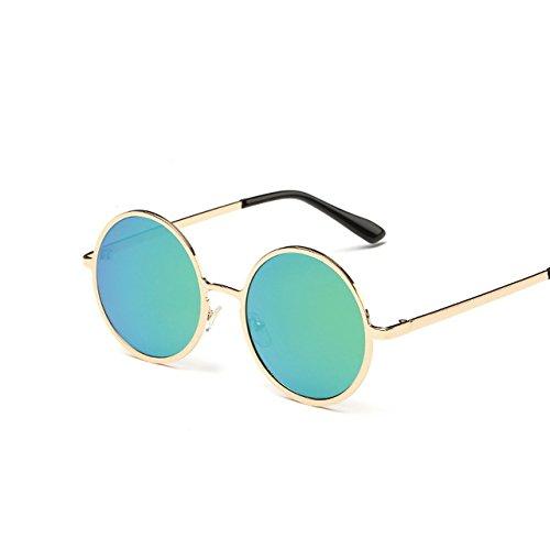Tocoss (TM) Femmes Marque classique ronde Lunettes de soleil pour homme femme Petite vintage rétro Lunettes de soleil femelle mâle Conduite Eyewear, noir/argenté