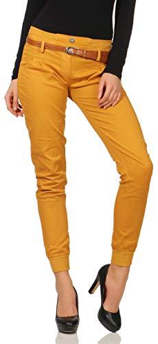Malito Damen Chino Hose inkl. Gürtel | Stoffhose mit Stretch | lässige Freizeithose | Skinny - elegant 5396 (L, gelb)