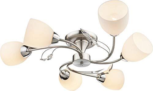 Deckenleuchte SINGU, nickel matt, 6 Arme gebogen, Glas, opal -