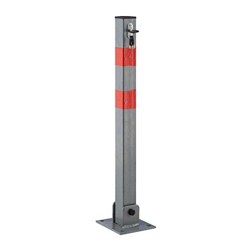 Relaxdays Absperrpfosten quadratisch H x B x T: 65x15x13 cm Sperre von Parkplatz oder Durchfahrt klappbarer Pfeiler mit 3 Schlüsseln für Schloss als Pfosten mit roten Warnstreifen, anthrazit