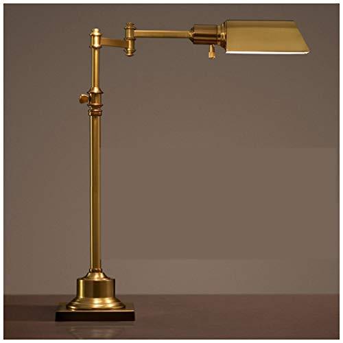 NACHTTISCHLAMPEN Lixin Antike kupferne Retro- Arbeit des Schreibtisch-Lampen-Schreibtisch-Studien-Augen-LED kreativ (Farbe : Metallic, größe : 52 * 52cm)