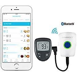 GLUCONEXT Transmisor de Datos Universal para Glucómetro   Bluetooth   Registros de Glucemia, Transmisión Automática de Resultados de Glucosa en la Sangre a su App de Control de la Diabetes