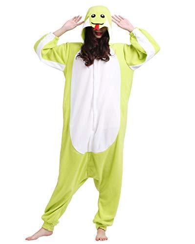 Jumpsuit Onesie Tier Karton Kigurumi Fasching Halloween Kostüm Lounge Sleepsuit Cosplay Overall Pyjama Schlafanzug Erwachsene Unisex Grün Schlange for Höhe 140-187CM