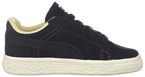 PUMA Girls  Suede Classic Peach Basket Sneaker Black-Pebble-Whisper White  1 M US Little Kid