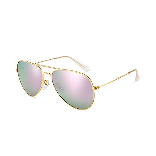 SUNGLASSES Polarisierte Sonnenbrille Spiegel Sonnenbrille Helle Augen Mode Brille (Farbe : Gold Frame Purple Green)