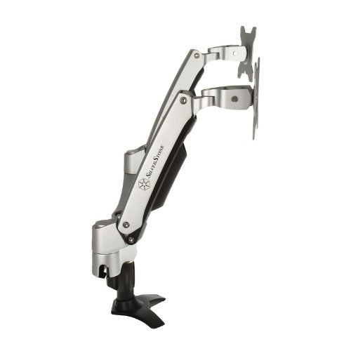Bargain SilverStone SST-ARM22SC – Two ARM LCD LED Monitor Mount Bracket, Adjustable, with 360° Rotation, 90° tilt up/ down, 90° tilt left/ right & Pull Out 180° Swivel Arm – Max VESA 100×100, silver on Line