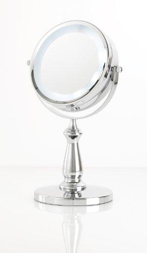 Danielle Kosmetik-Standspiegel 2 Spiegelflächen Lichtring 15 cm 5-fache Vergrößerung Chrom