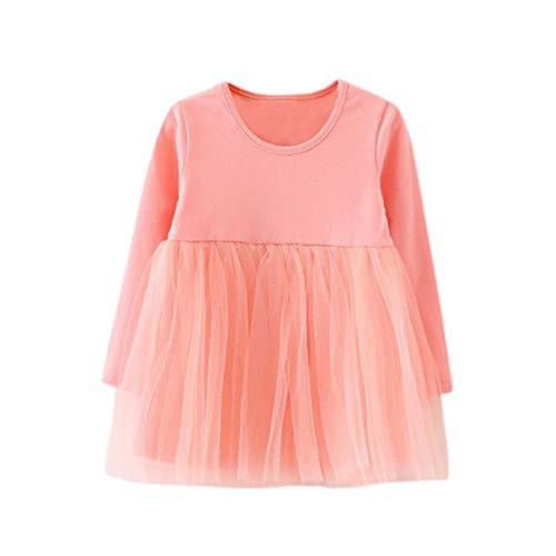 Bestow Vestido de Princesa de Malla con Cuello Redondo para niñas bebés de Manga Larga sólido tutú Princesa Informal para niños pequeños Vestido(Rosado,4T)