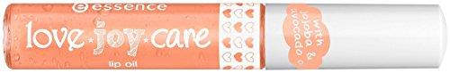 Essence Love Joy Care lip oil Huile pour les lèvres de couleur 02 Good in the mood !, enrichie en vitamine E, huile de jojoba et huile d'avocat pour des lèvres plus douces et soignées, 10 ml, 0.33 fl.oz. Parfumée à l'abricot.