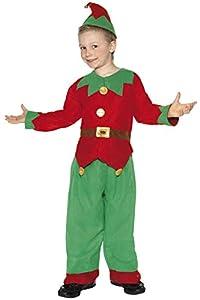 Smiffys-24507L Disfraz de Elfo, con Parte de Arriba, pantalón y Gorro, Color Rojo y Verde, L-Edad 10-12 años (Smiffy