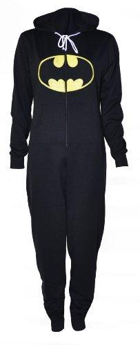 hoodied onesie)(sty) frauen schwarz batman onesie (36/38 (uk 8/10)) (Batman Onesies Für Erwachsene)