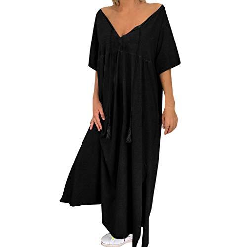 Amphia Leinenkleid Damen Sommer,Frauen V-Ausschnitt Kurzarm Soild Beiläufige Lose Plus Size Split Kleid - Sommerkleid Strandkleid A-Line Hemdkleid - Petticoat 26 Plus Krinoline