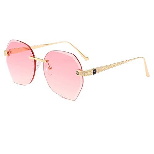 HQMGLASSES Rahmenlose Damensonnenbrille, seitlicher Schnitt und UV 400-Schutz für Freizeit und Urlaub,03
