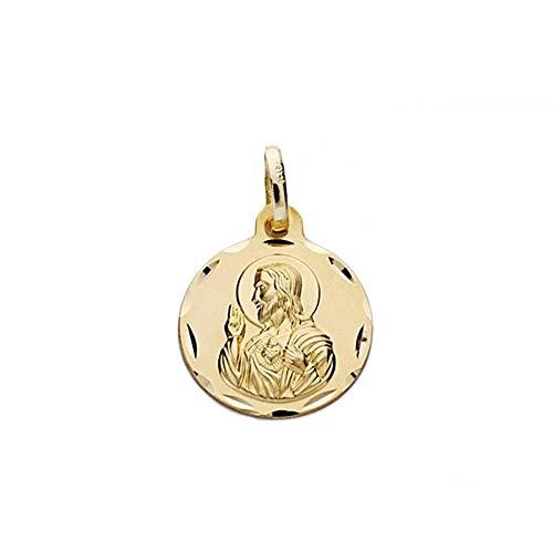 Medalla Oro 18K Escapulario 14mm. Virgen Carmen Corazón Jesús [Aa0548]