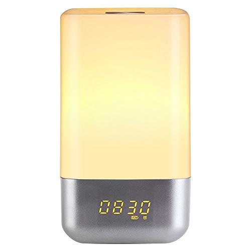 Wake Up Light, Despertador luz LED con Sunrise Simulation y 5 Sonidos Naturales, Control Táctil, Luz de Noche con Múltiples Colores, Regalo Perfecto para Niños o Adultos (MY-03)