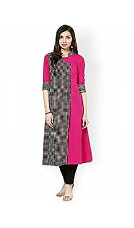 AnjuShree Choice Women's Straight Fit Kurta (ASC037_LARGE_40_Pink)