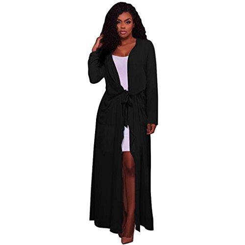 Damen Pure Color Lange Offene Cardigan vorne mingfa Wasserfall lange full Ärmel Cape Kimono Gürtel Jacke Trench Coat - Trench-gürtel