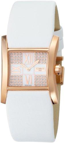 Cerruti 4426398 - Reloj de mujer de cuarzo, correa de piel color blanco