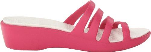 Crocs Rhonda, Sandales compensées - Femme Rouge (Raspberry/Oyster)