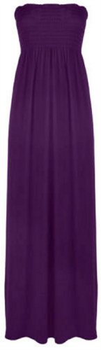 Womens Plus Size Boob Tube Maxi Stretch Sheering Summer Beach Maxi ( Purple , UK 20-22 / EU 48-50 )