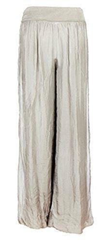 Damen Italienisch Lagenlook Quirky Layering Plain Seide Flap Taille Puffball Style Harem Hosen Leggings Jogger Hosen Loose Baggy One Size Plus (Eine Größe 36-48, Beige) -