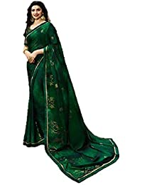 2761dba8d434b DRAVINAM Trends Georgette saree with silk borders and unstitched silk blouse  - Free size