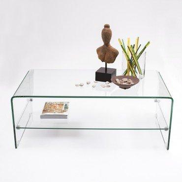 Homely - Mesa de centro rectangular 110X60 de cristal curvado y templa