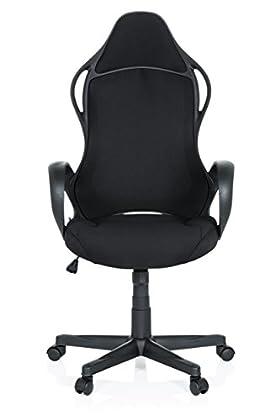 hjh OFFICE 621945 Silla Gaming Racer XTS Tejido Negro Silla de Escritorio Silla de Oficina