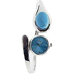 New Softech Ladies Bracelet Bangle Watch With Turquoise Color Stone On Face With One Extra Battery