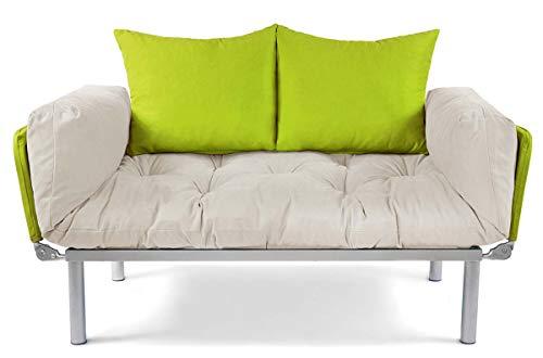 EasySitz Schlafsofa für EIN 2 Sitzer Sofa Klein Couch 2-Sitzer Schlafsessel Zweisitzer Personen Mein Futon Sitzen Einer Farbauswahl (Creme & Grün)