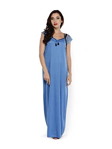 Klamotten Womens Cotton Nightwear ,Blue ,Free Size
