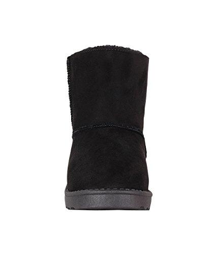 Damen Gefütterte Boots Schwarz Winterschuhe Warme Stiefel Kunst Wildleder Schuhe Schwarz 4325